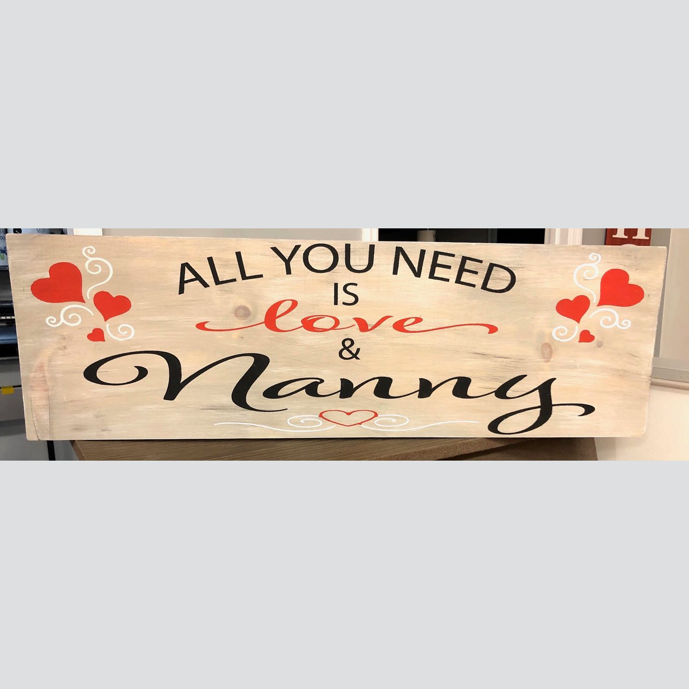 All You Need is Love and Nanny DIY Wood Sign
