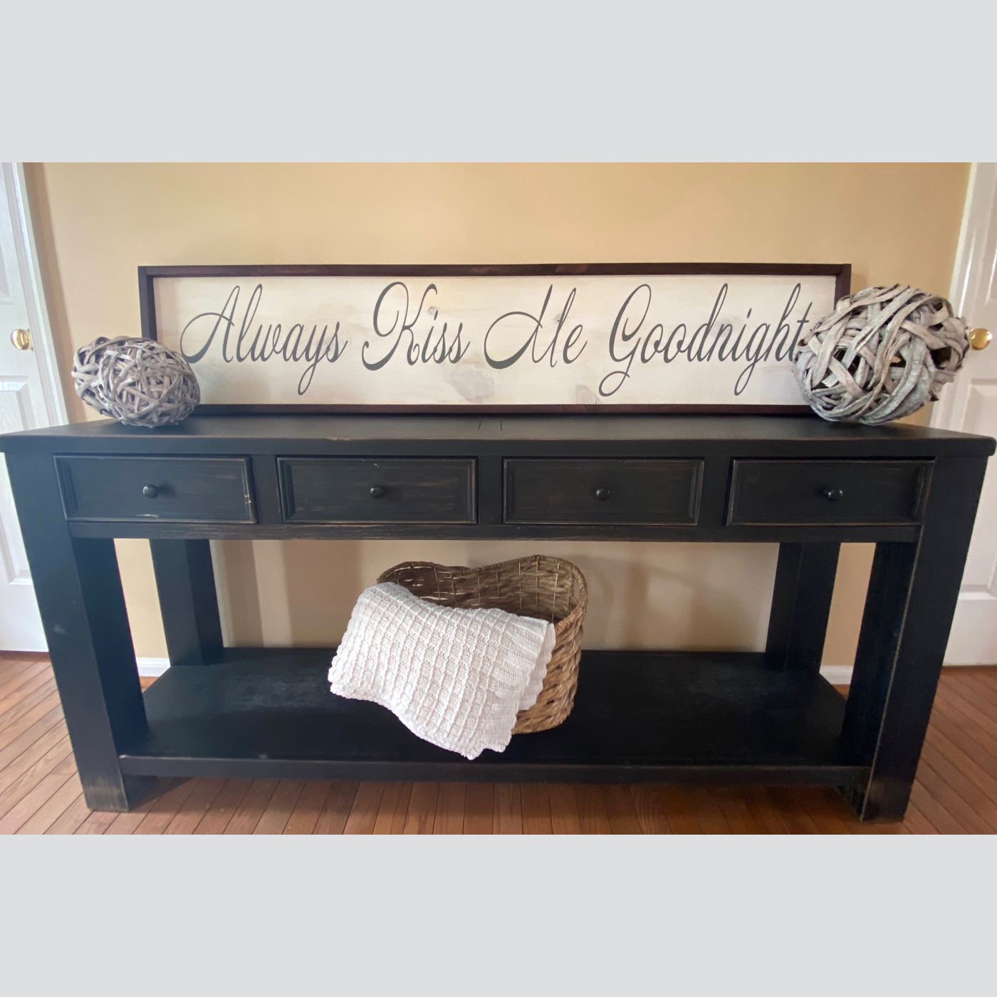 Always Kiss Me Goodnight Framed DIY wood sign