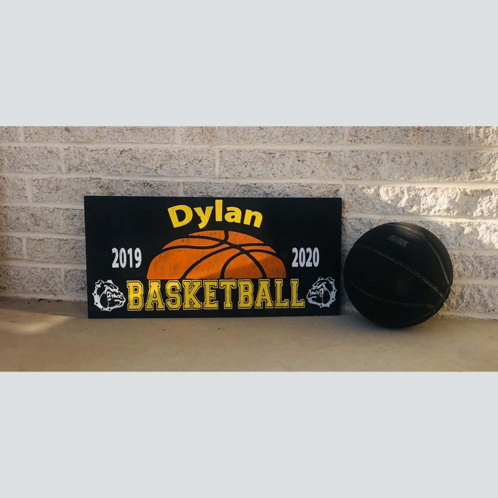 Basketball with Personalization DIY Wood Sports Sign