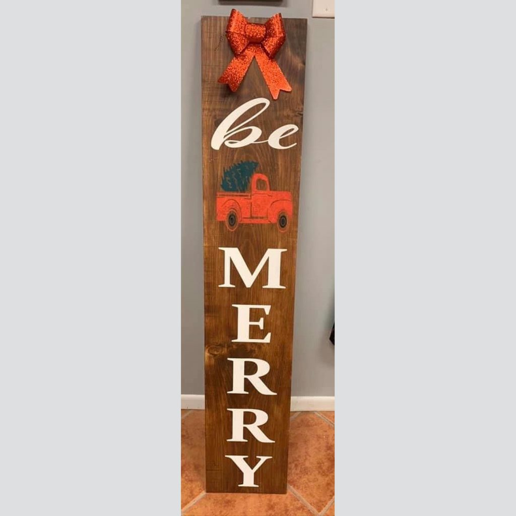 Be Merry with Truck DIY Wood Welcome Sign