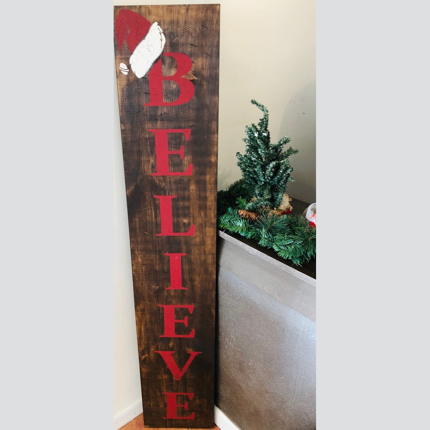 Believe with Santa Hat DIY Wood Sign