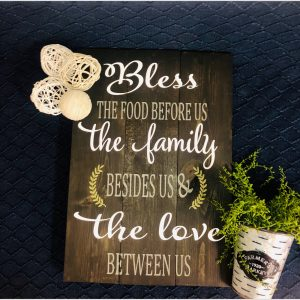 Bless the Food Before Us DIY Family Wood Sign