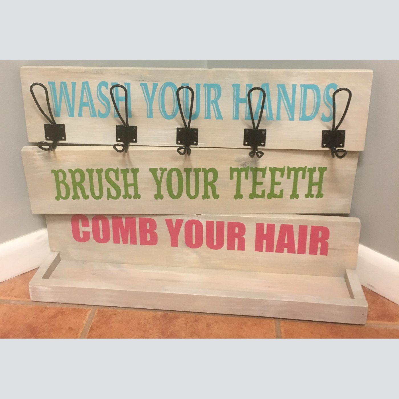 Comb Your Hair, Brush Your Teeth DIY wood sign bathroom