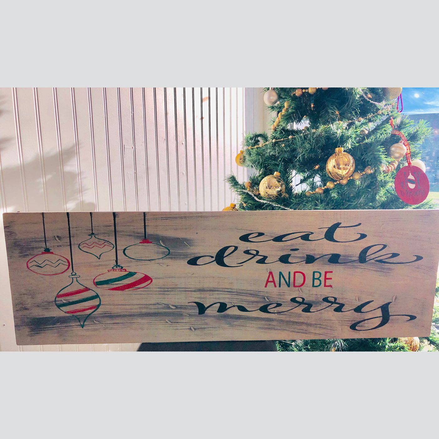 Eat, Drink and Be Merry DIY wood sign Christmas