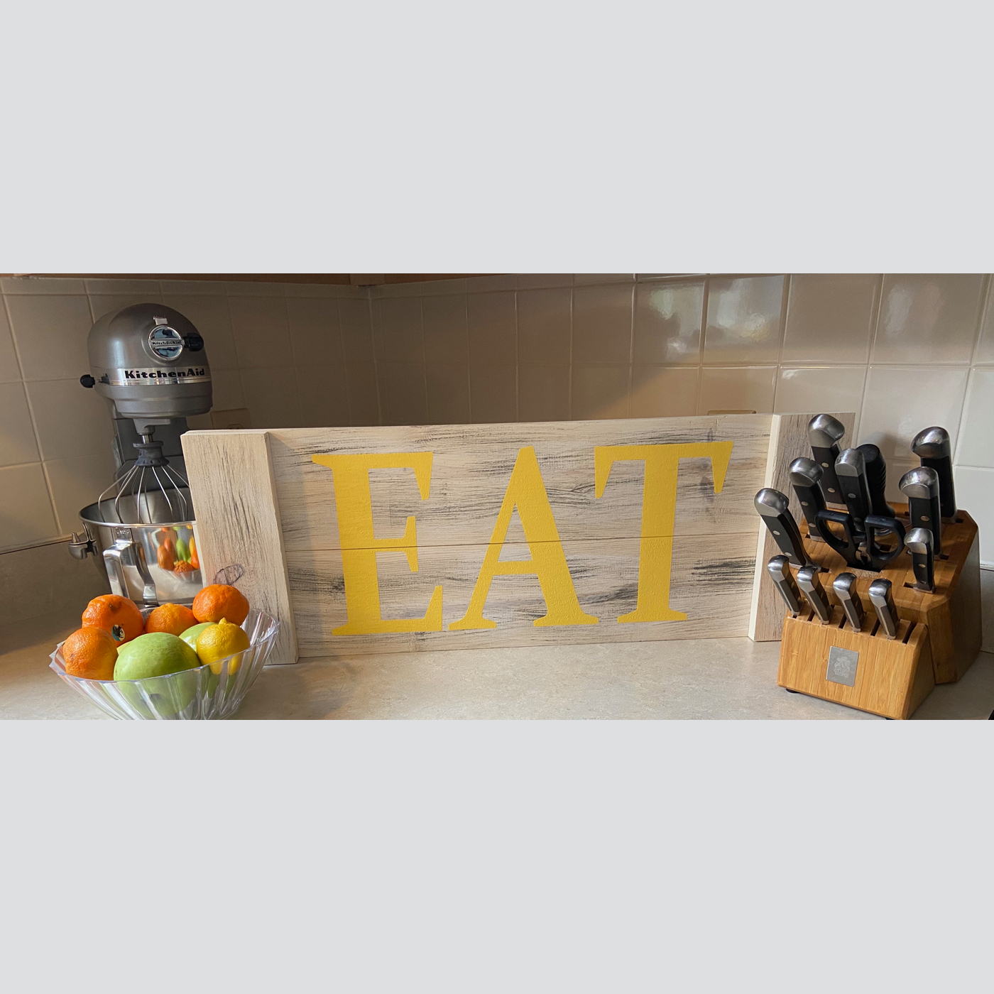 Eat DIY wood sign kitchen