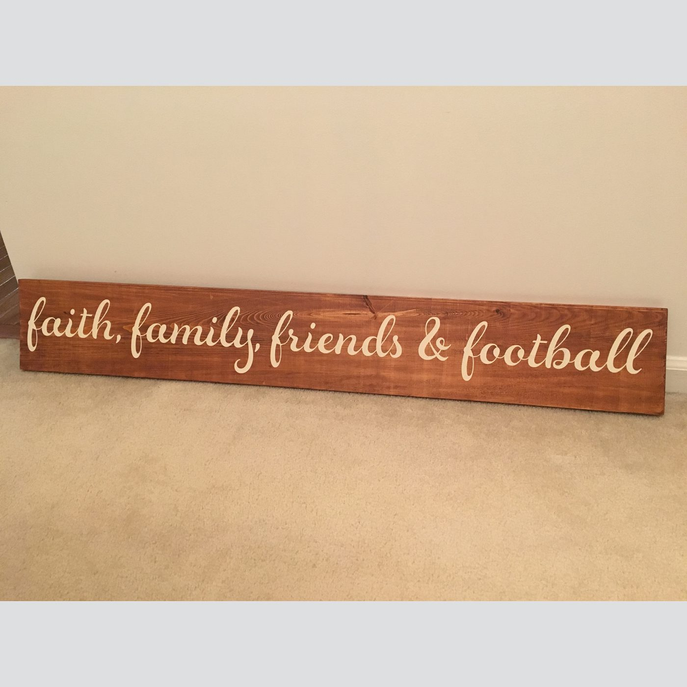 Faith, Family, Friends and Football DIY wood sign