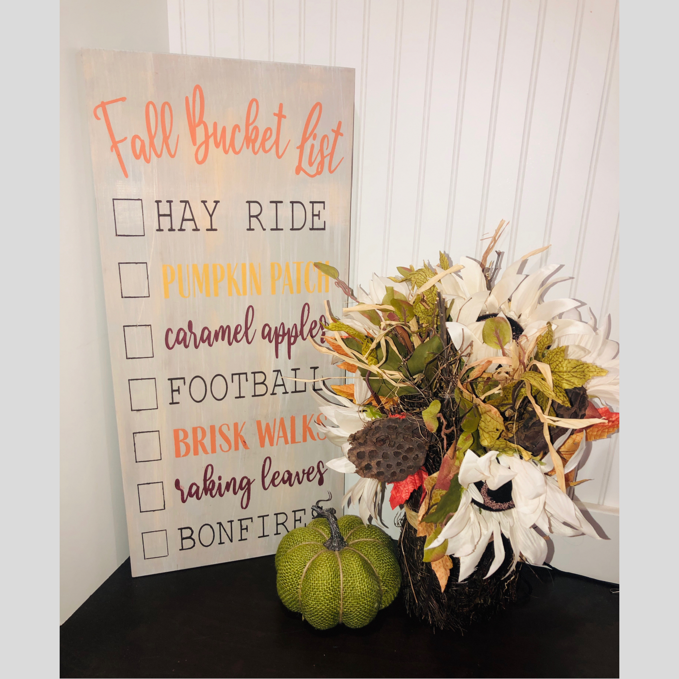 Fall Bucket List DIY Wood Sign Bethlehem PA