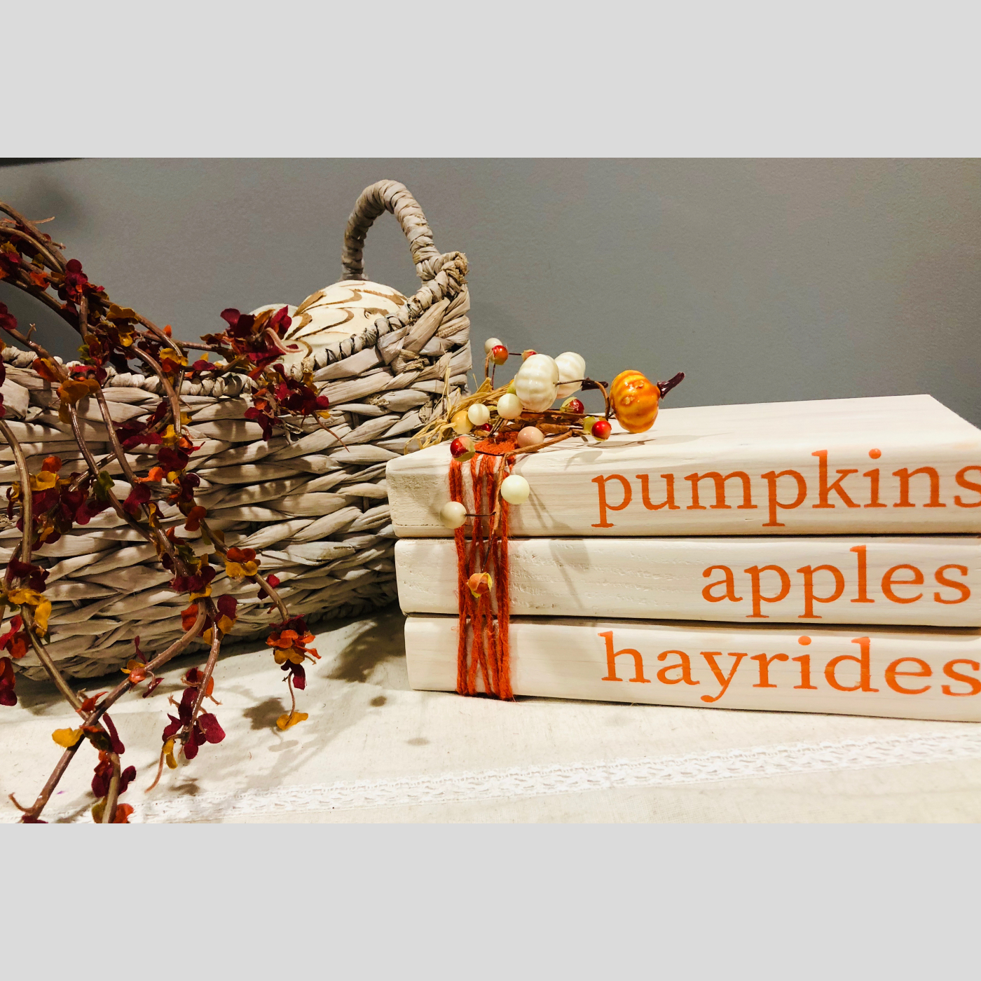 Stacked Books- Pumpkins, Apples, Hayrides DIY Wood Signs Bethlehem PA