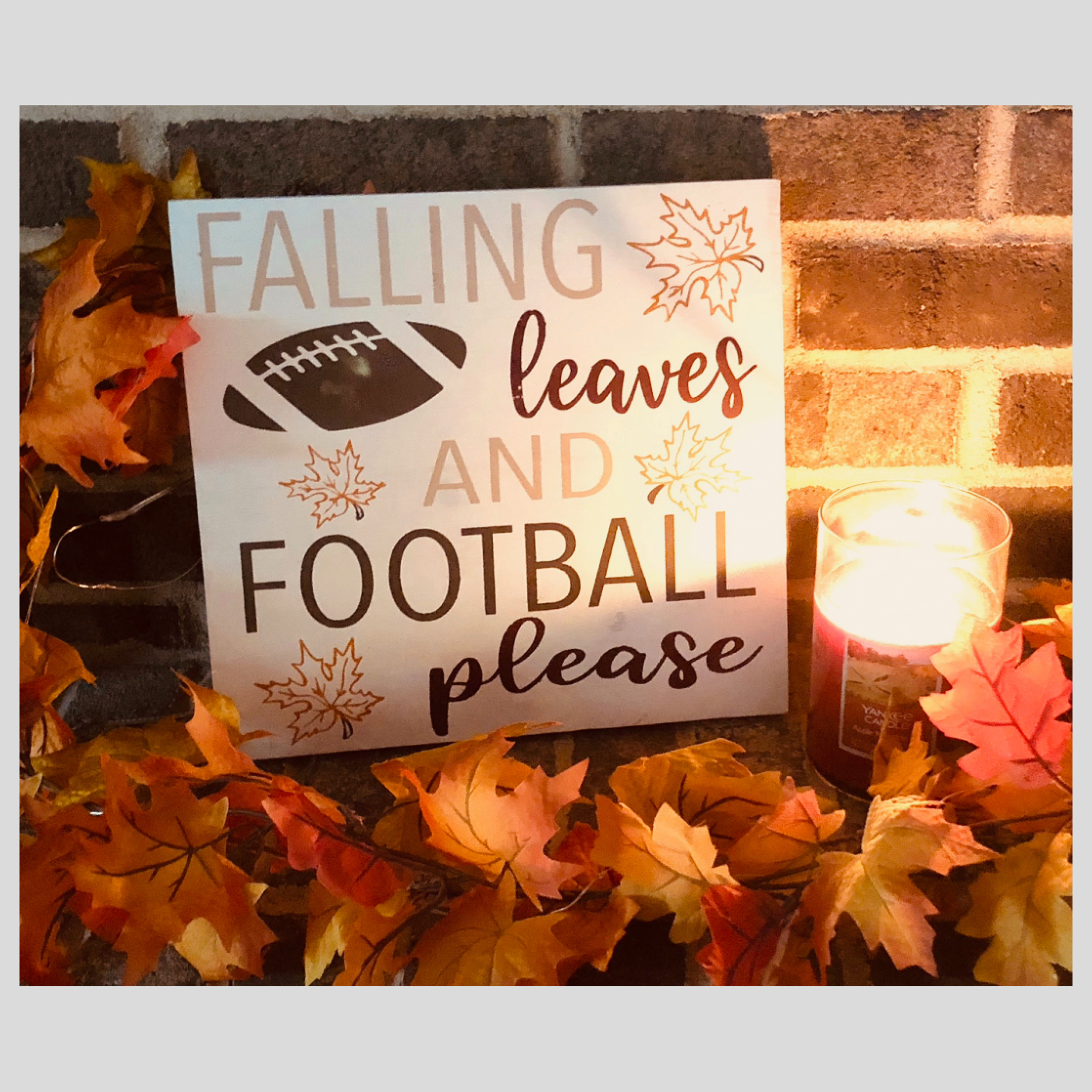 Falling Leaves and Football Please DIY Wood Sign Bethlehem PA