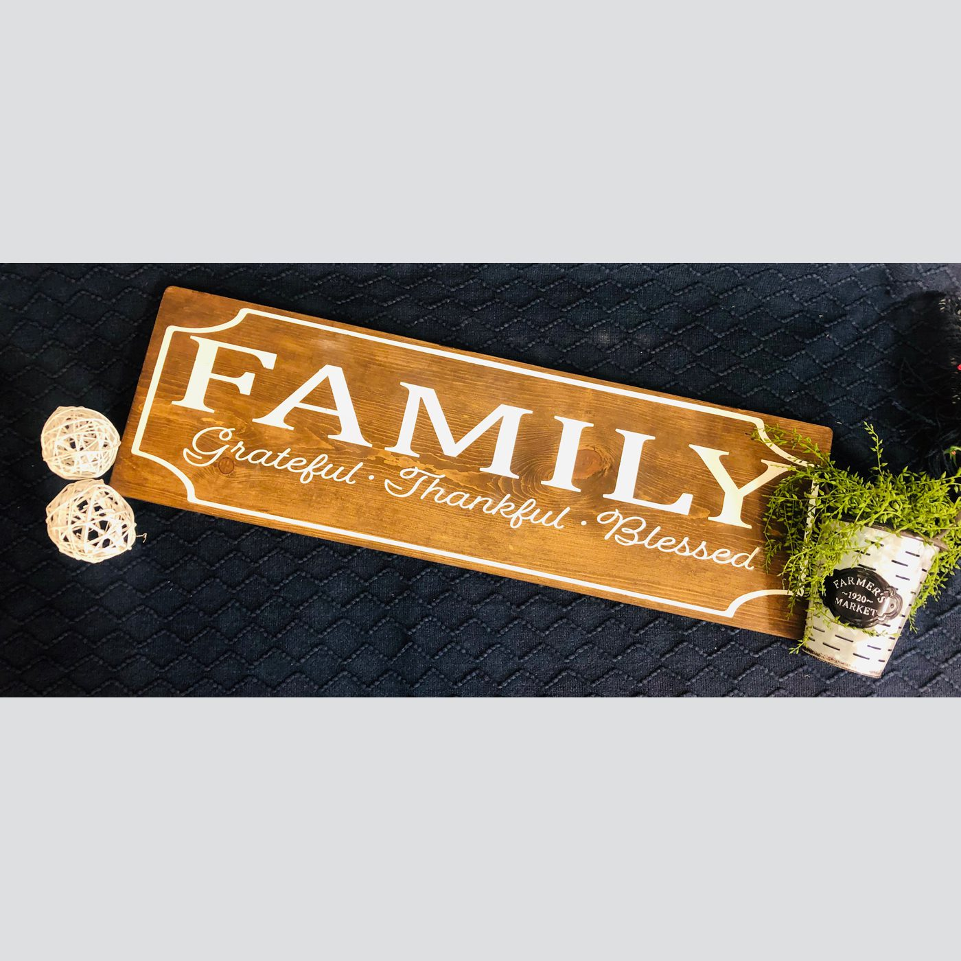 Family- Grateful, Thankful, Blessed DIY wood sign