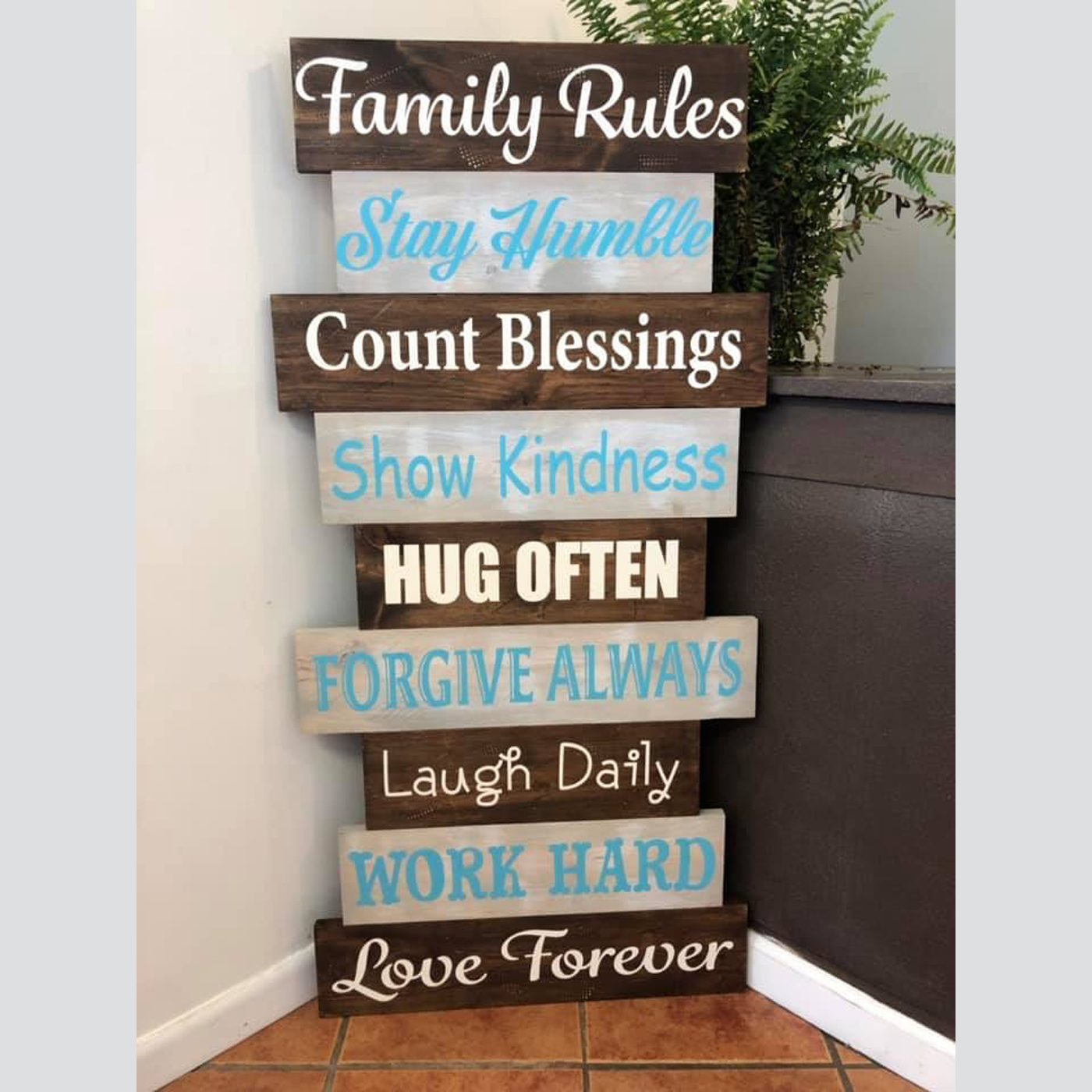 Family Rules DIY wood sign
