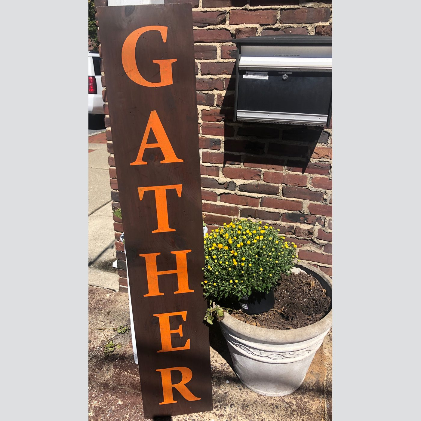 Gather DIY wood sign welcome fall