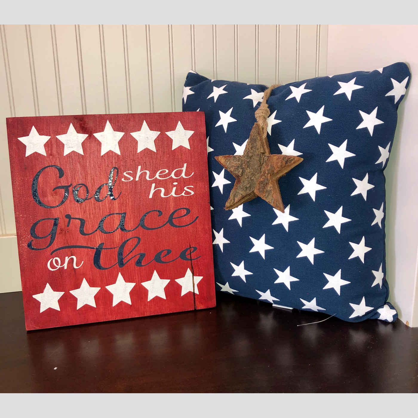 God Shed His Light on Thee DIY Wood Sign Patriotic 4th of July Memorial Day
