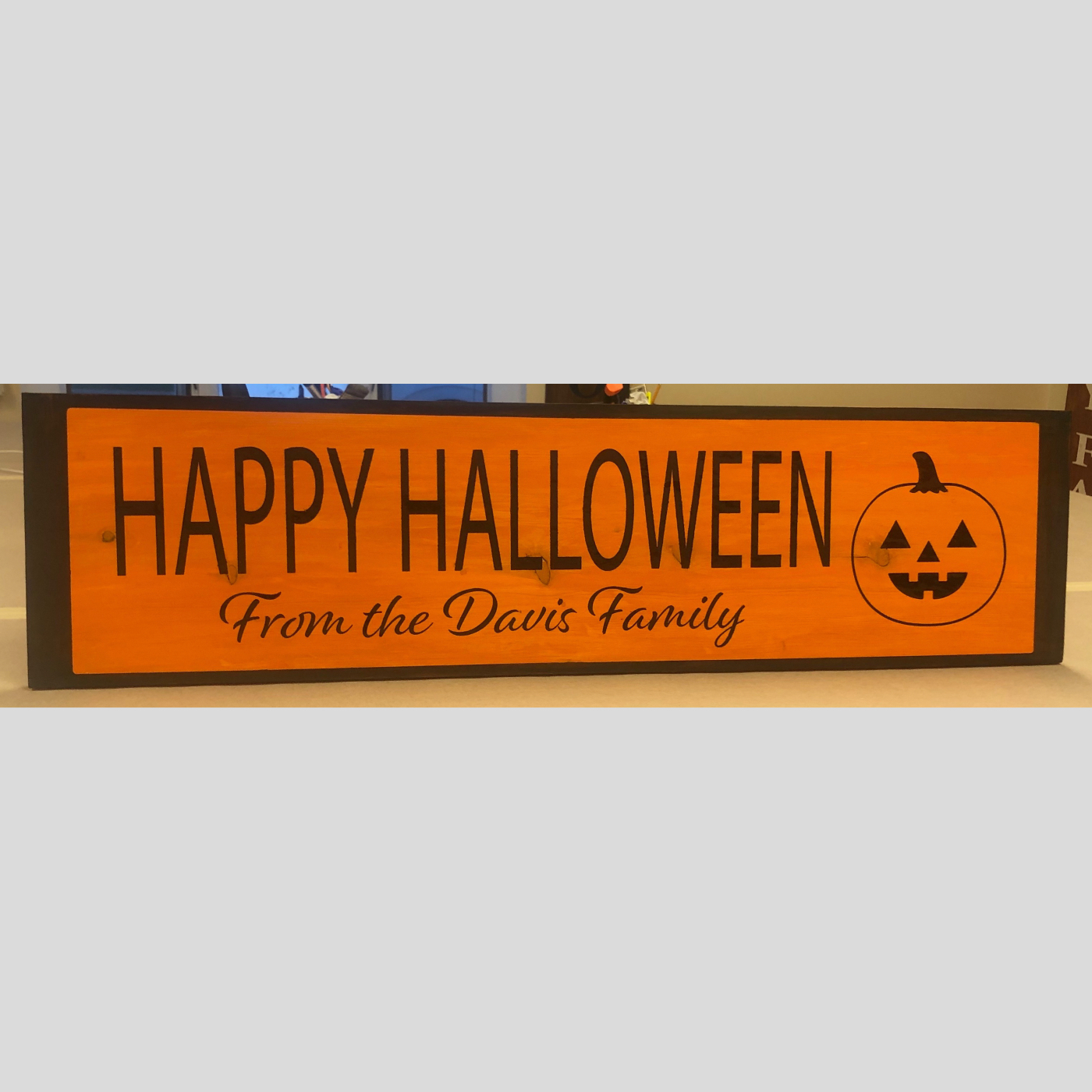 Happy Halloween Personalized with Pumpkin DIY Wood Sign Bethlehem PA
