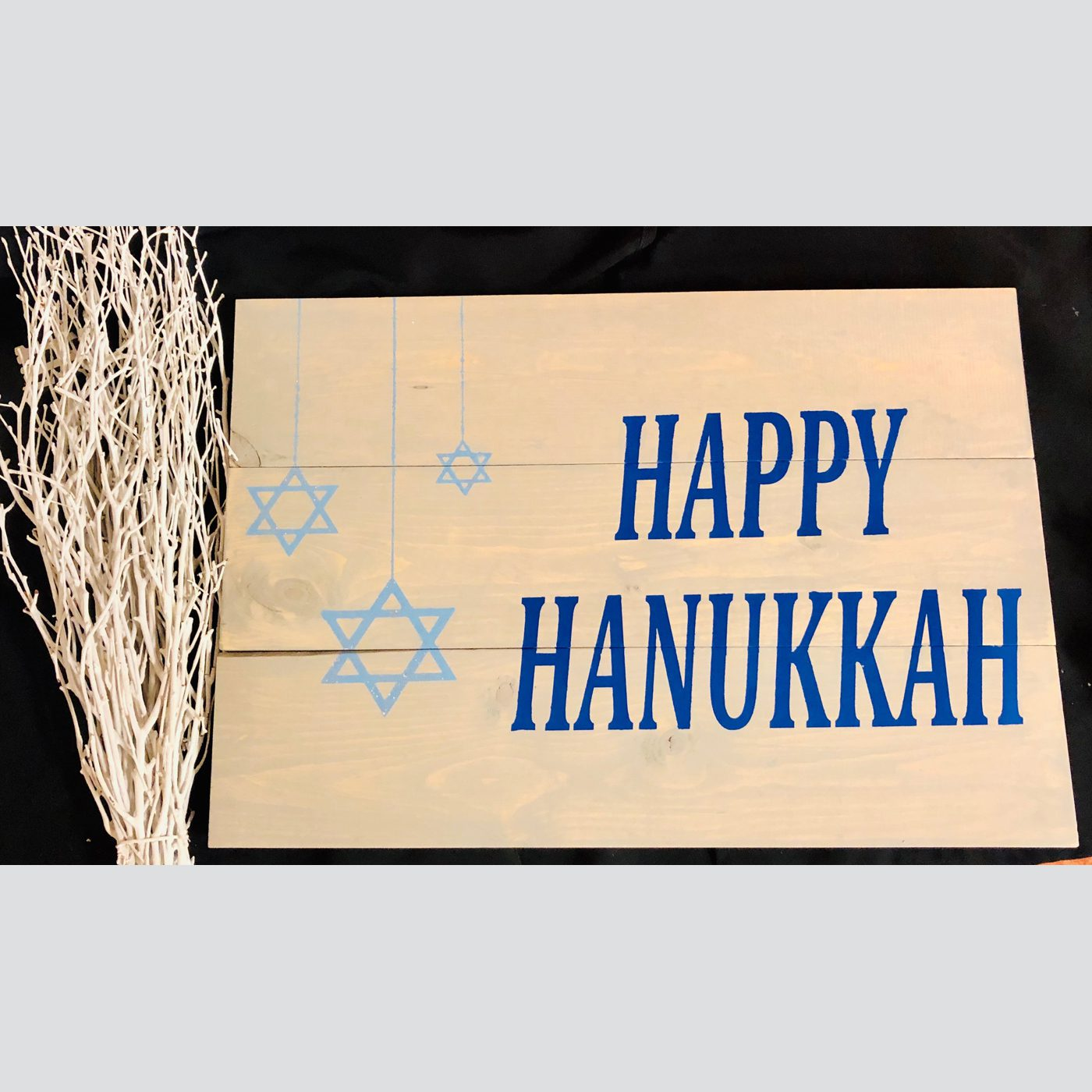 Happy Hanukkah DIY wood sign holiday