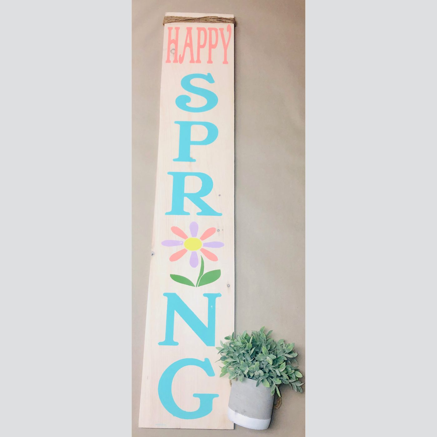 Happy Spring DIY wood sign welcome