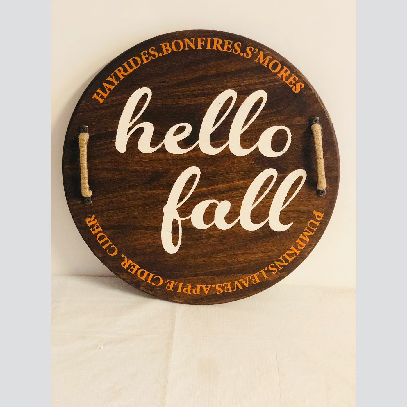 Hello Fall DIY wood sign tray
