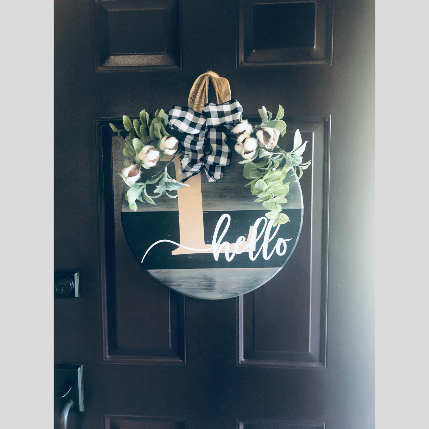 Door Hanger - Hello with Monogram DIY Wood Sign Bethlehem PA
