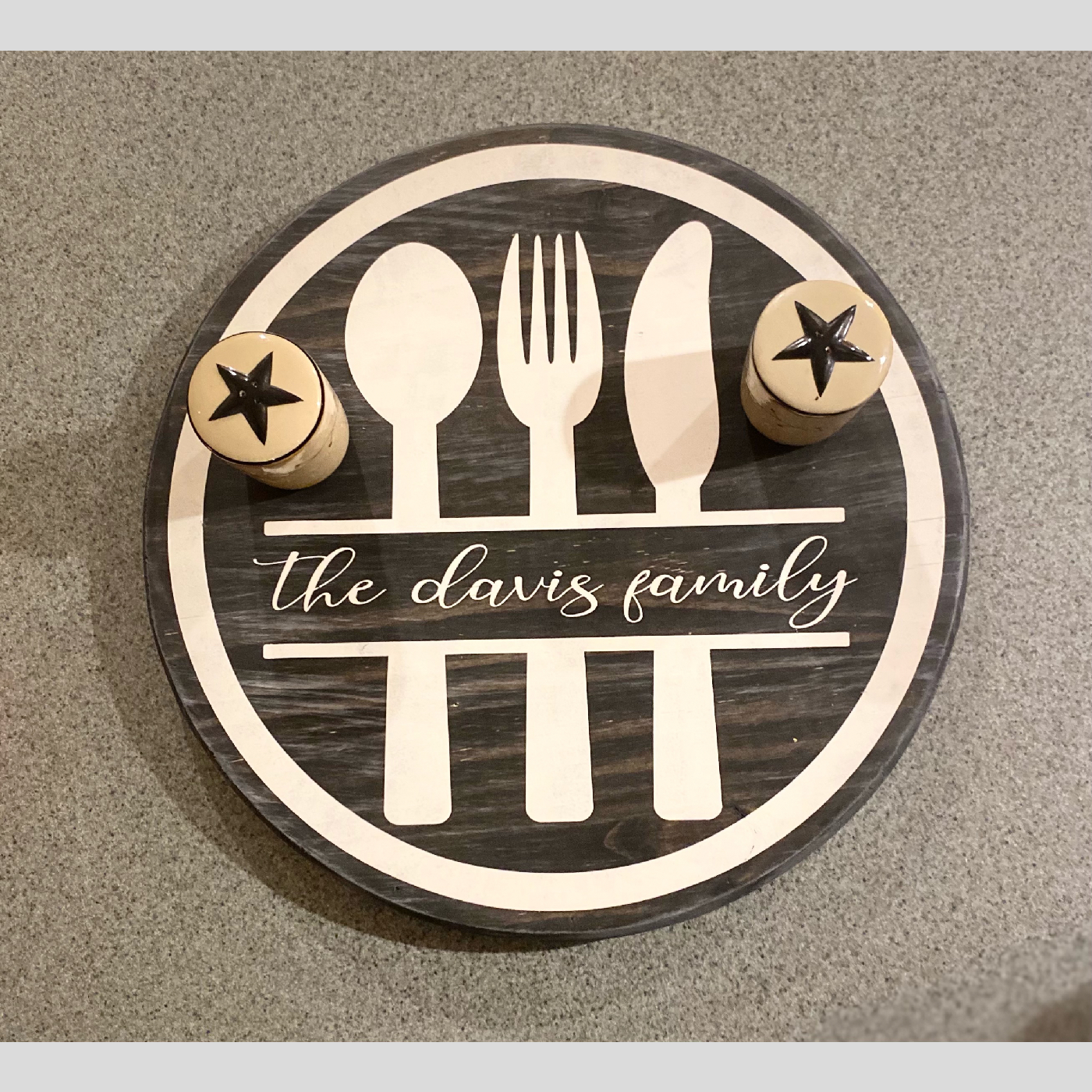 Lazy Susan ~ Kitchen Utensil with Family Name DIY wood project kitchen