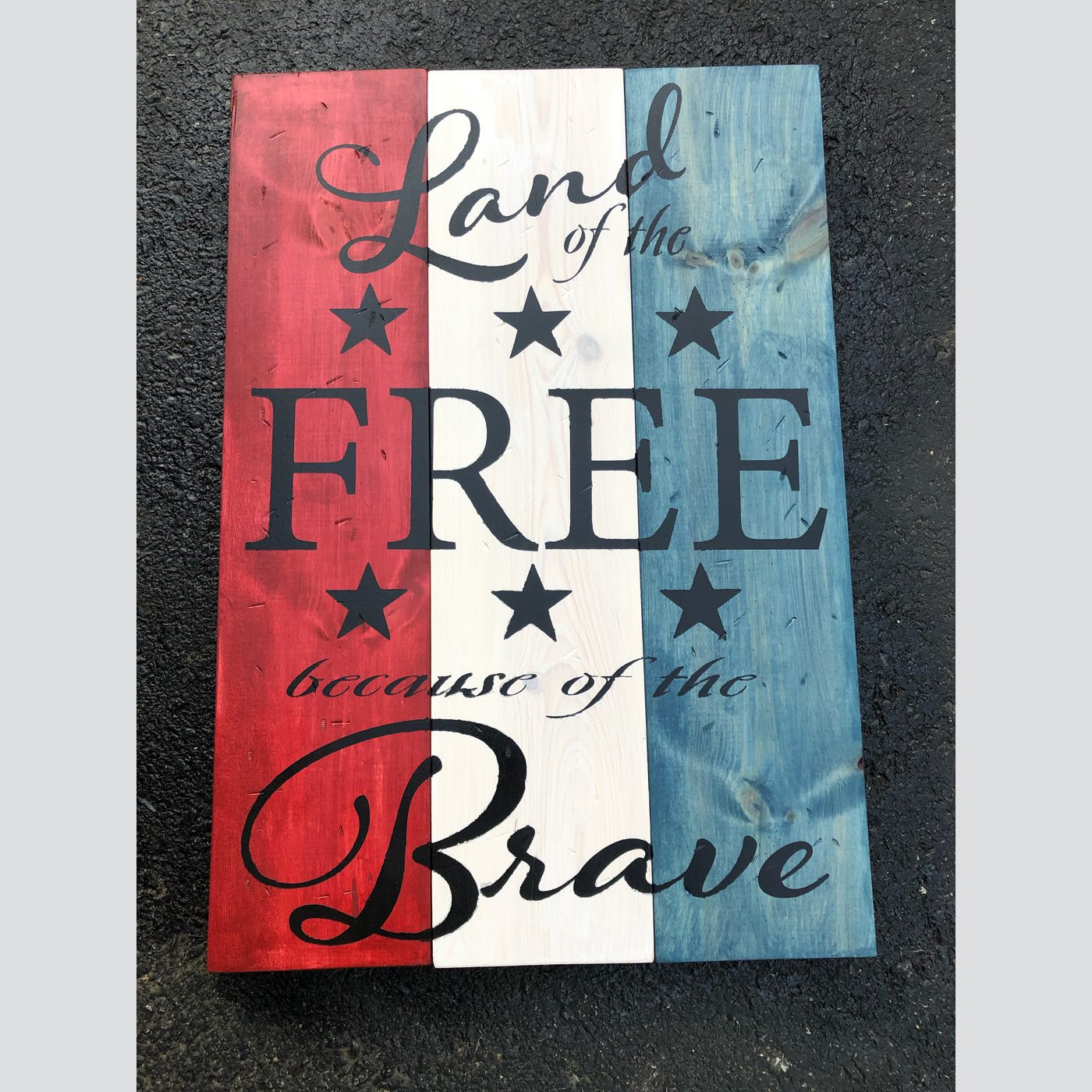 Land of the Free Because of the Brave DIY wood sign patriotic 4th of july