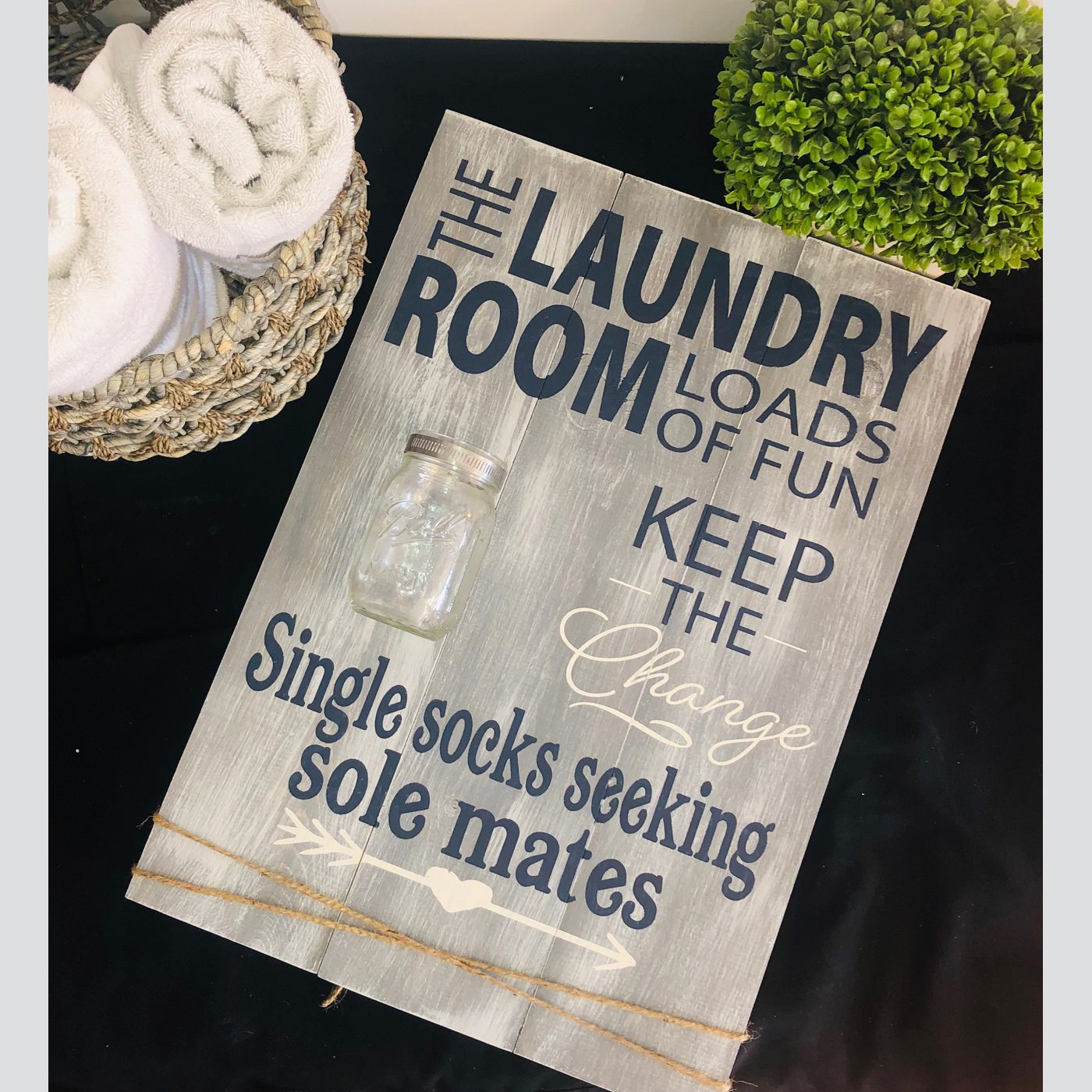 Laundry Room Loads of Fun with Mason Jar DIY wood sign