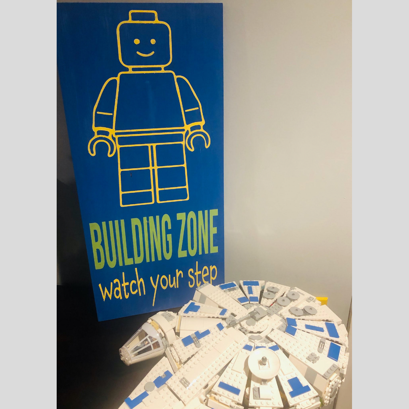 Lego Building Zone DIY Kids Wood Sign