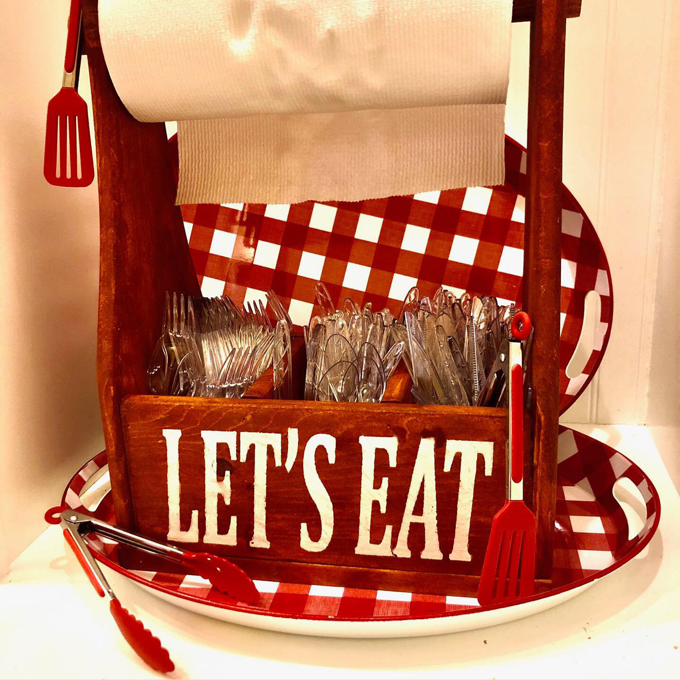 Let's Eat Utensil Holder DIY wood sign outdoor