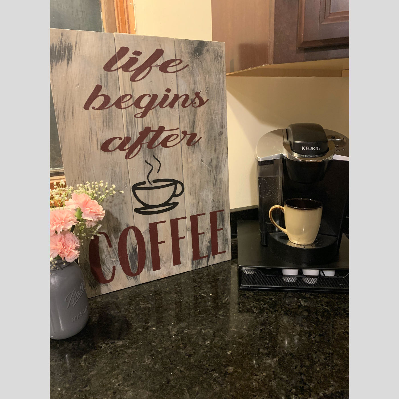 Life Begins After Coffee DIY Wood Sign Bethlehem PA