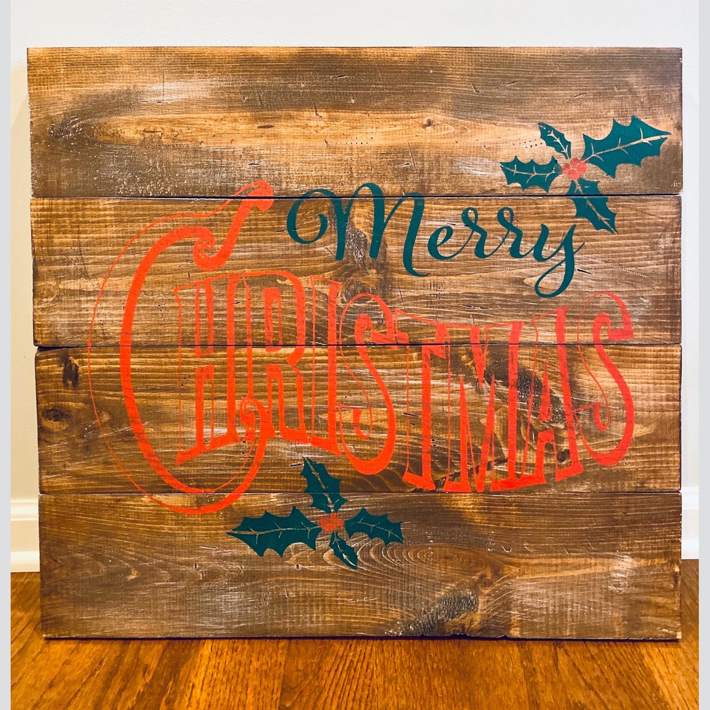 Merry Christmas with Holly DIY wood sign