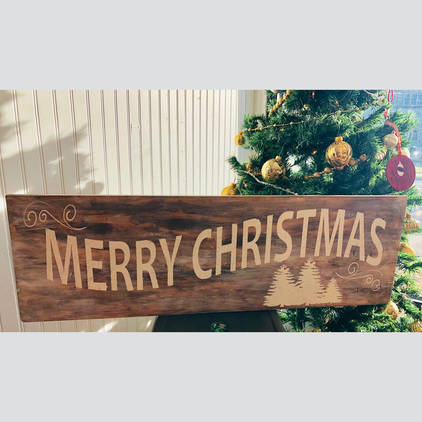 Merry Christmas with Trees DIY wood sign
