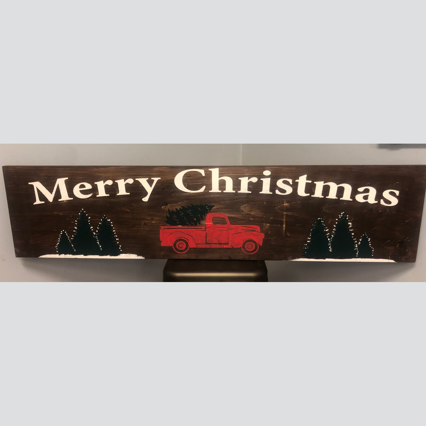 Merry Christmas with Truck DIY wood sign