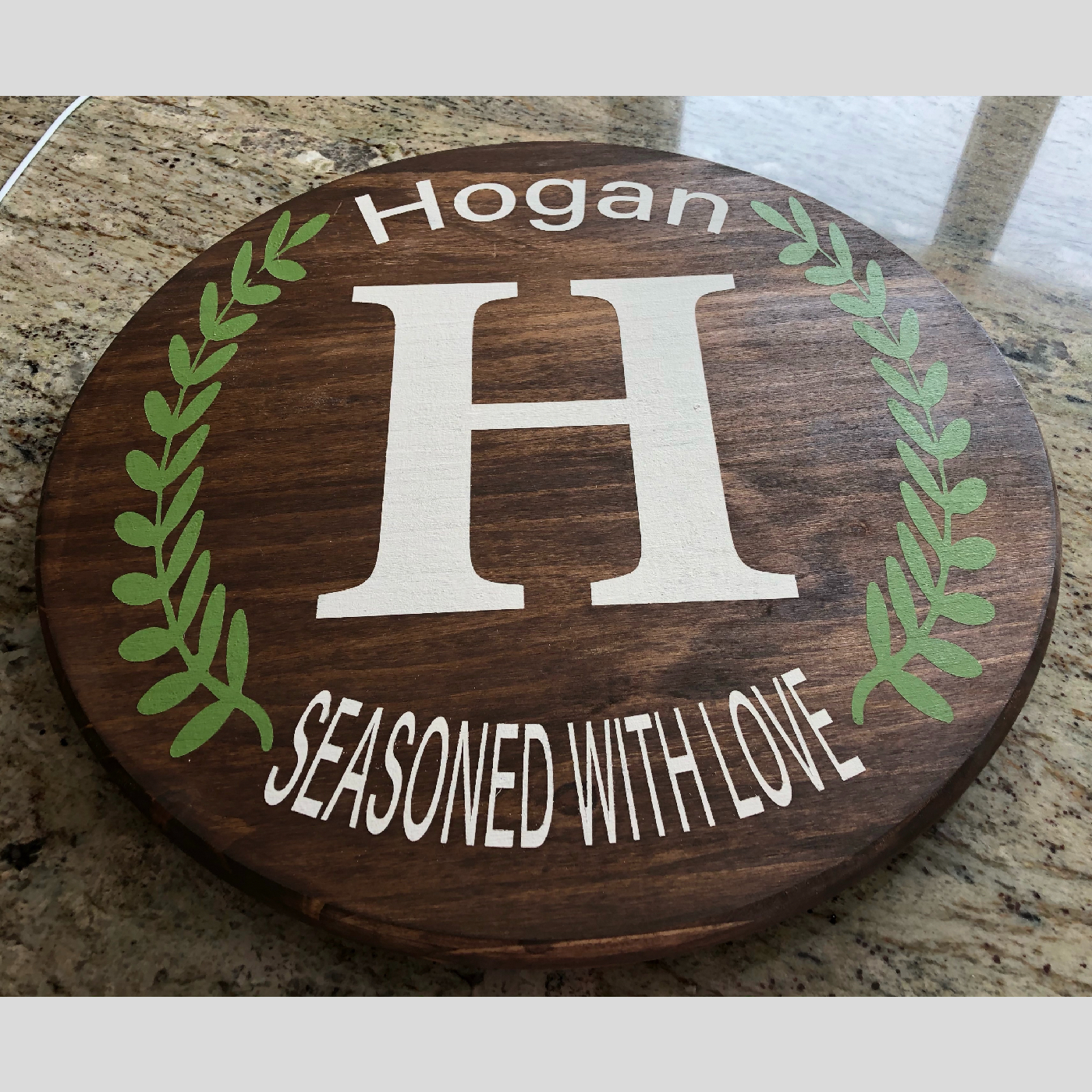 Lazy Susan ~ Monogram Seasoned with Love DIY wood project Kitchen