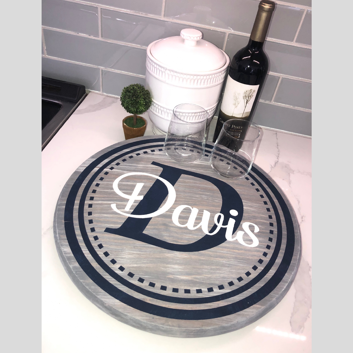 Lazy Susan ~ Monogram with Circles DIY wood project kitchen