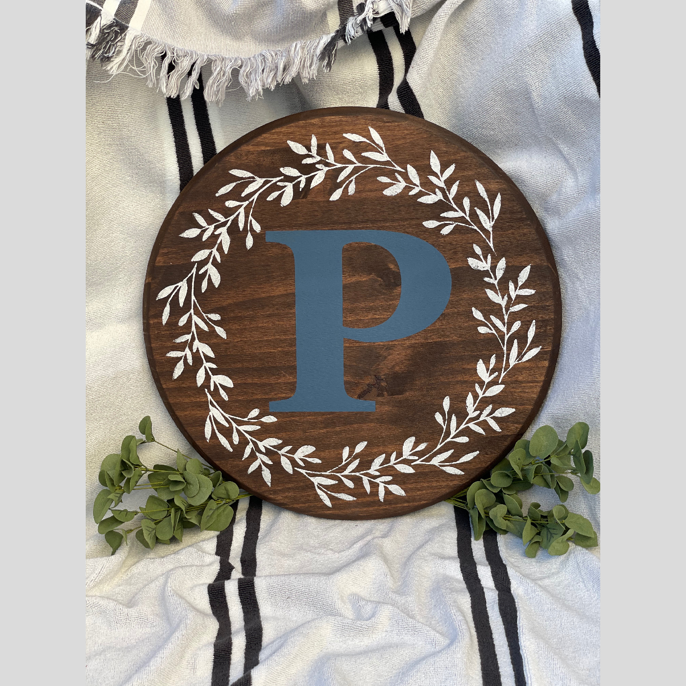 Monogram with Floral Wreath DIY wood sign home
