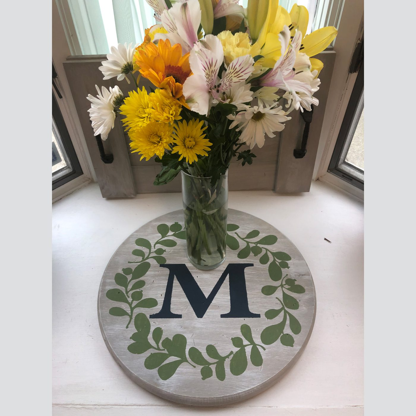 Monogram with Flower Wreath DIY wood sign home