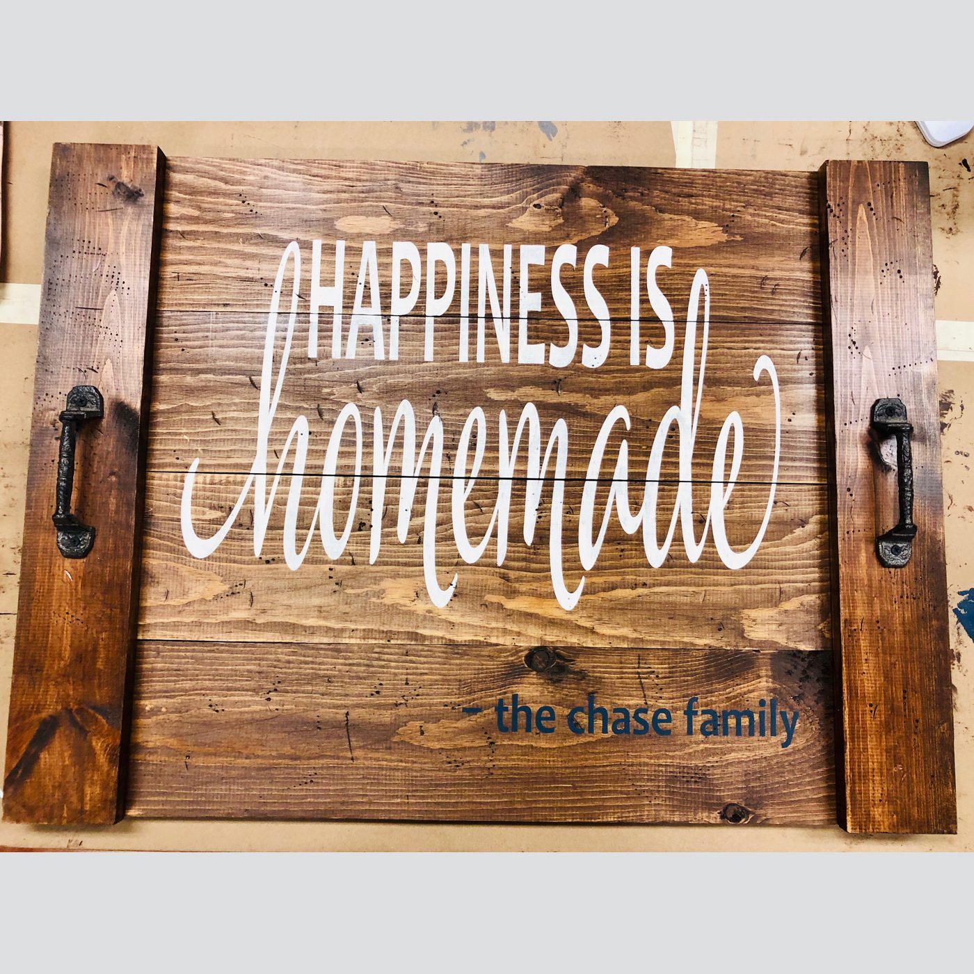 Noodle Board - Happiness is Homemade DIY wood sign