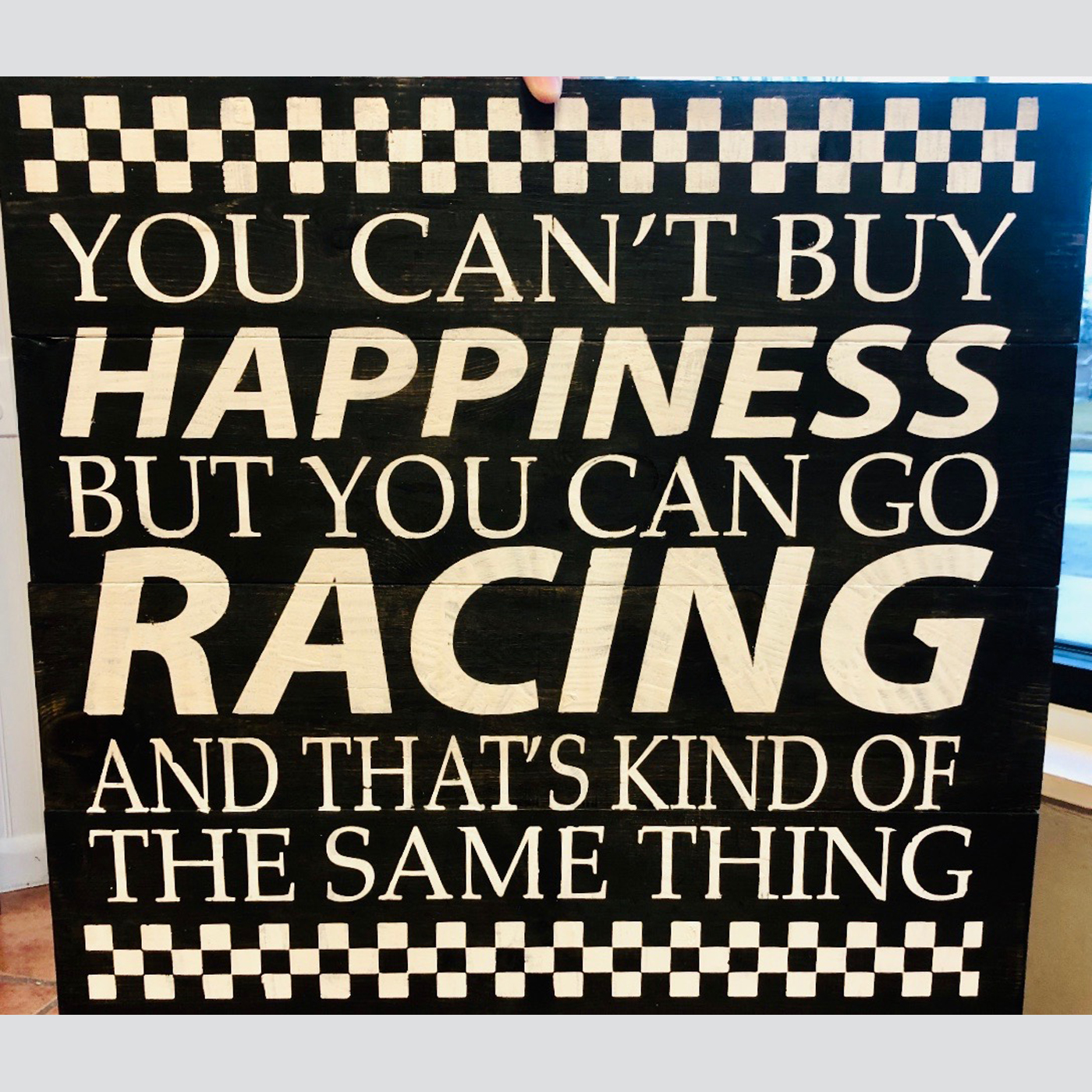 Racing Happiness DIY wood sign sports