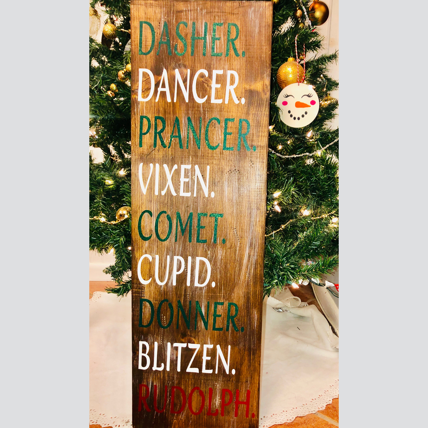 Reindeer Names DIY Wood Sign Christmas