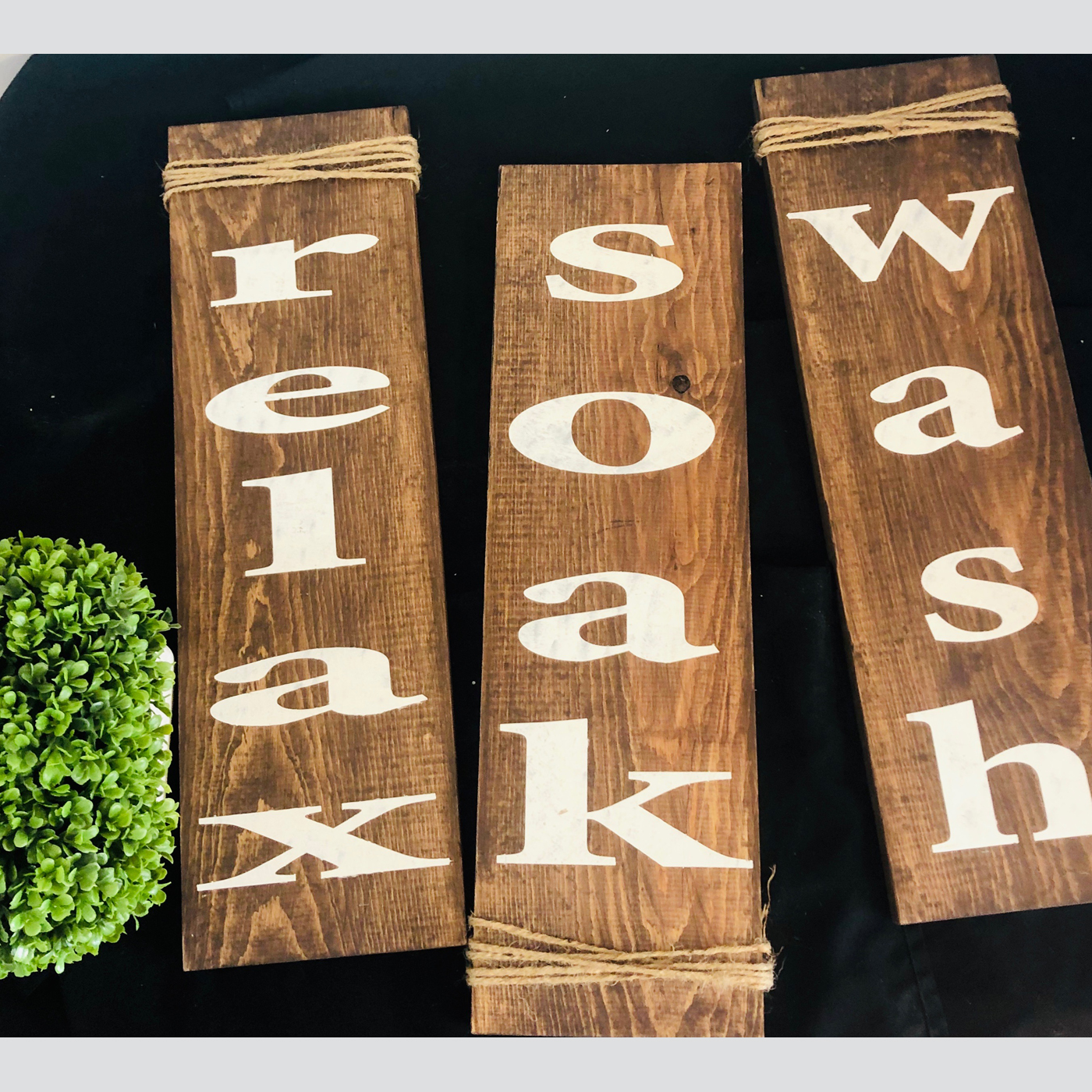Relax, Soak, Wash DIY Wood Sign Bathroom