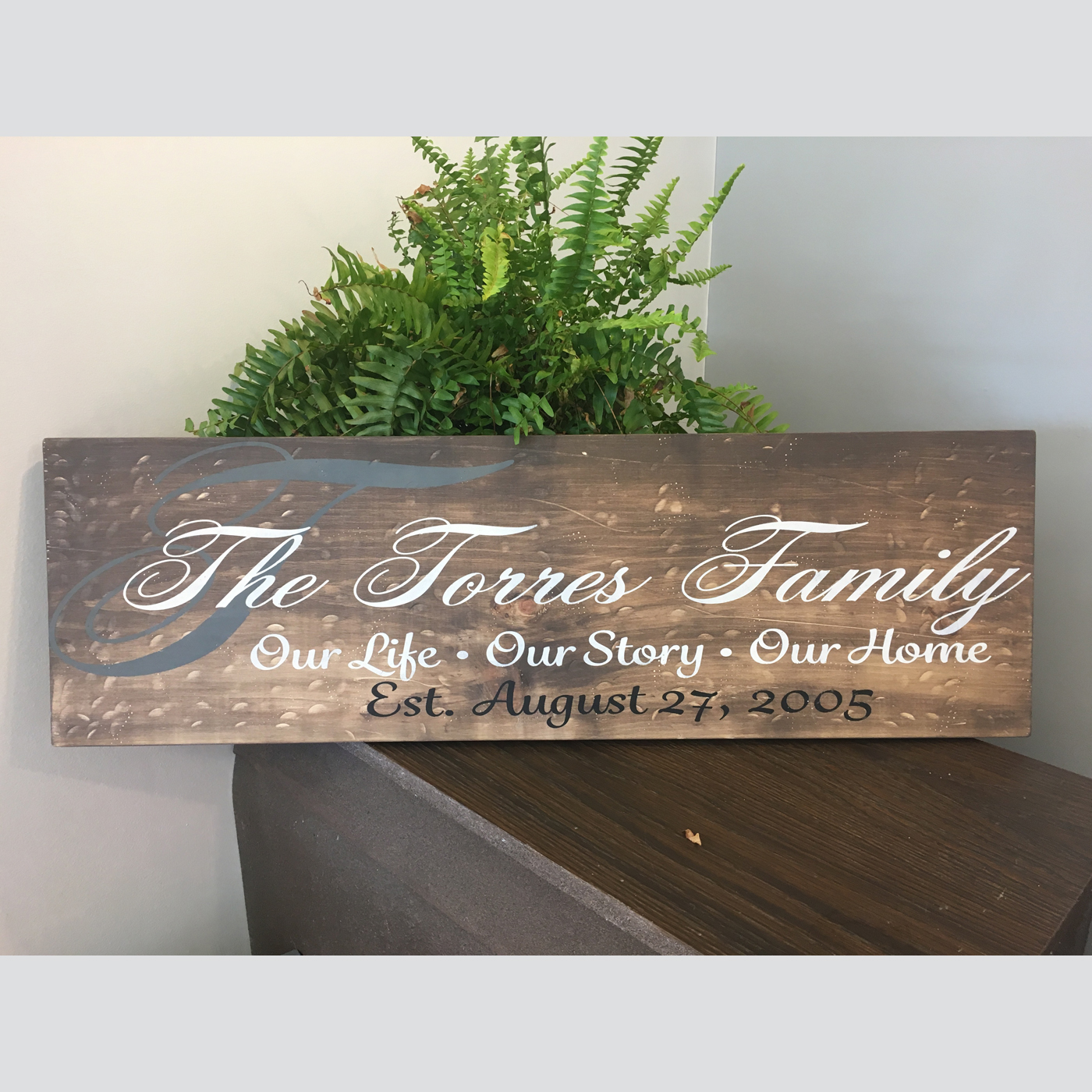 Scripted Monogram- Our Life, Our Story, Our Home DIY Wood Sign Project Family