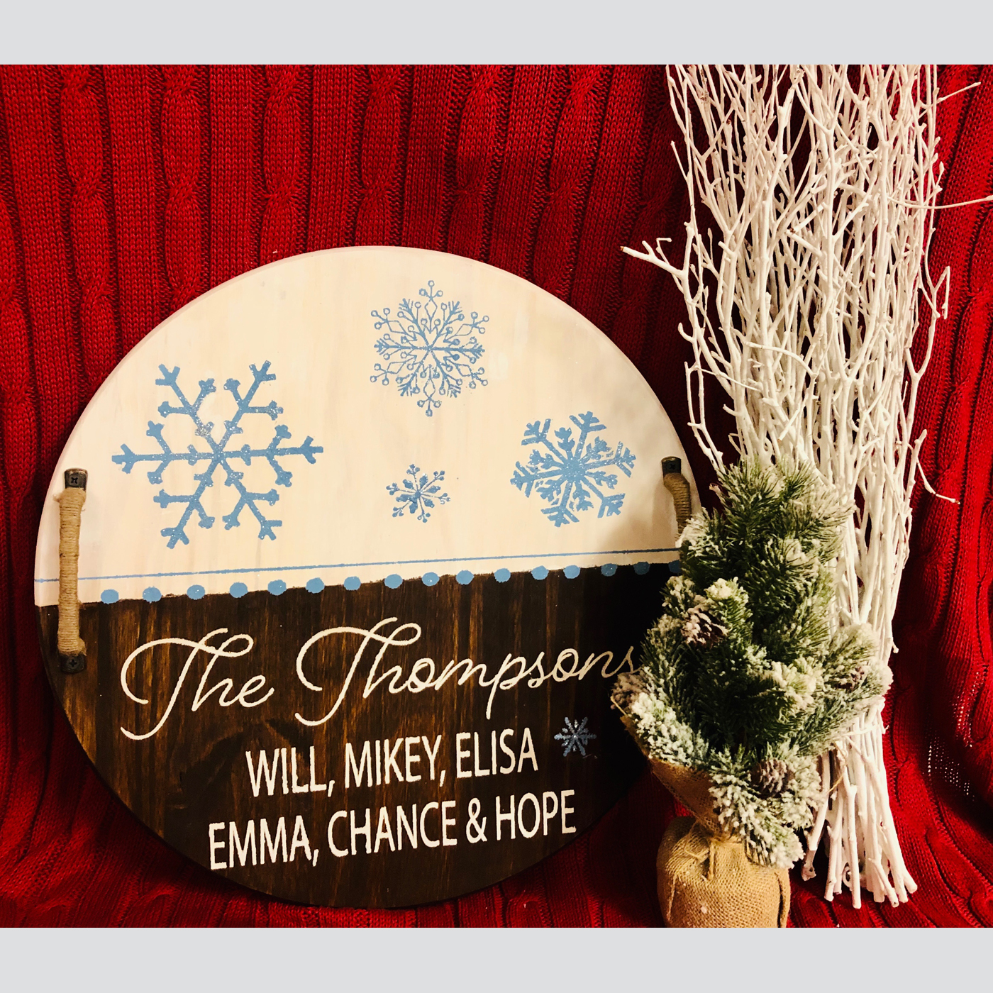 Snowflake Family Tray DIY wood sign