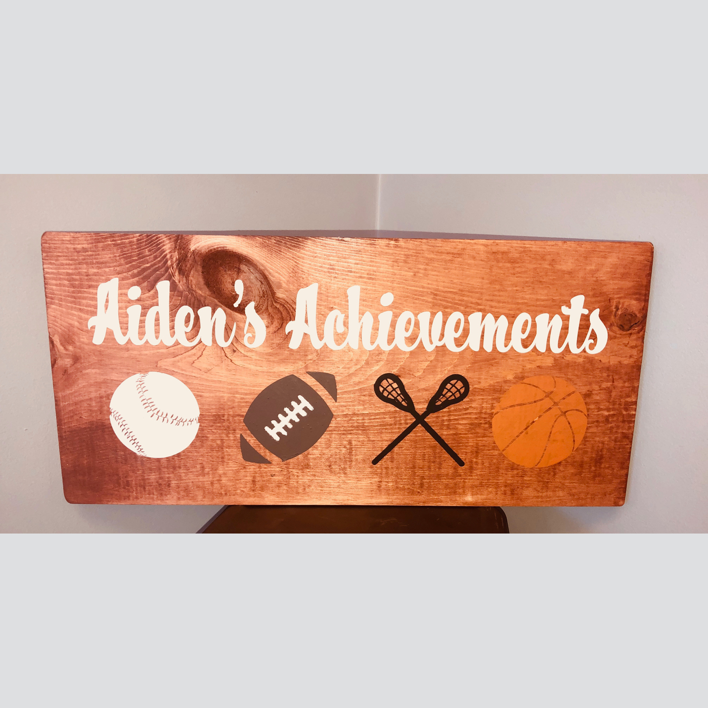 Sports Achievement Personalized DIY Wood Sign Kids