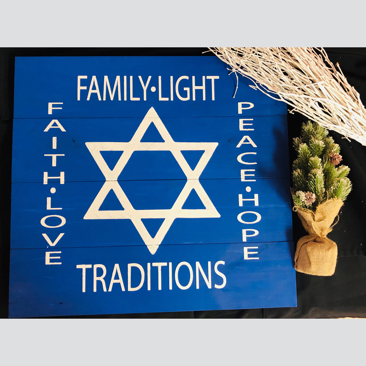 Star of David DIY wood sign Hanukkah
