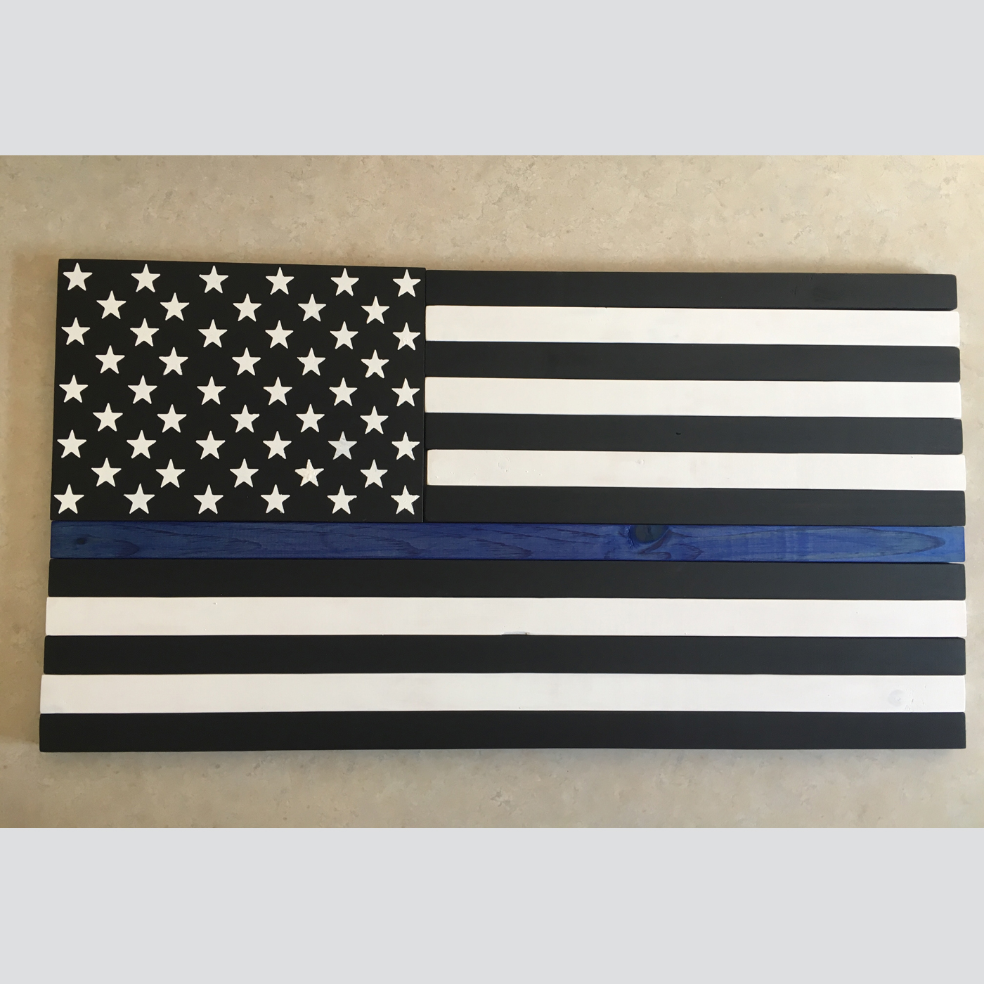 Thin Blue Line Flag - Painted DIY sign workshop Police Patriotic