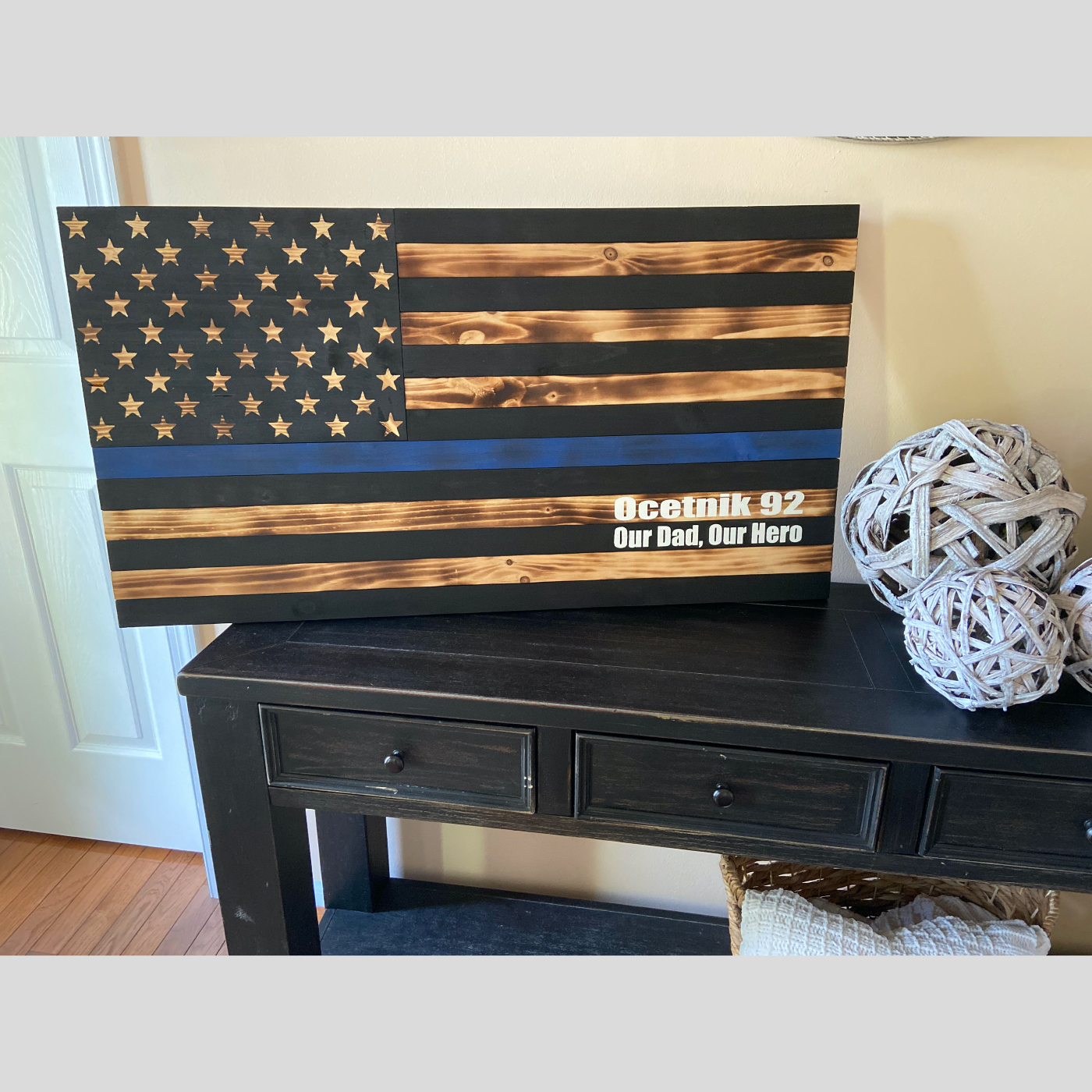 Thin Blue Line Flag - Stained and Burned DIY wood sign patriotic Police