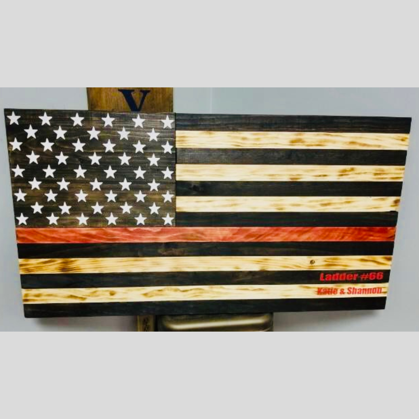 Thin Red Line Flag DIY wood sign