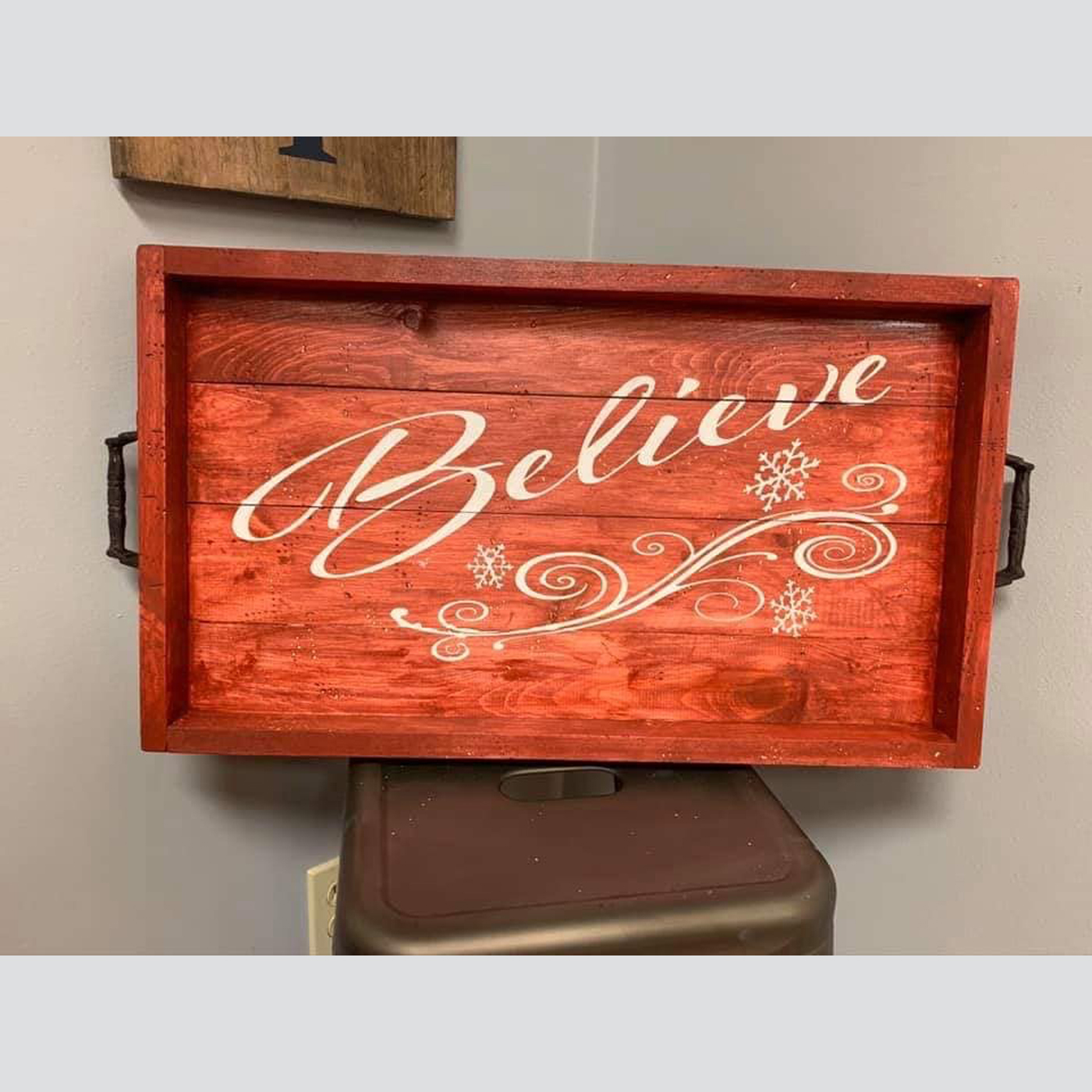 Tray- Believe with Snowflakes DIY Wood Sign Christmas
