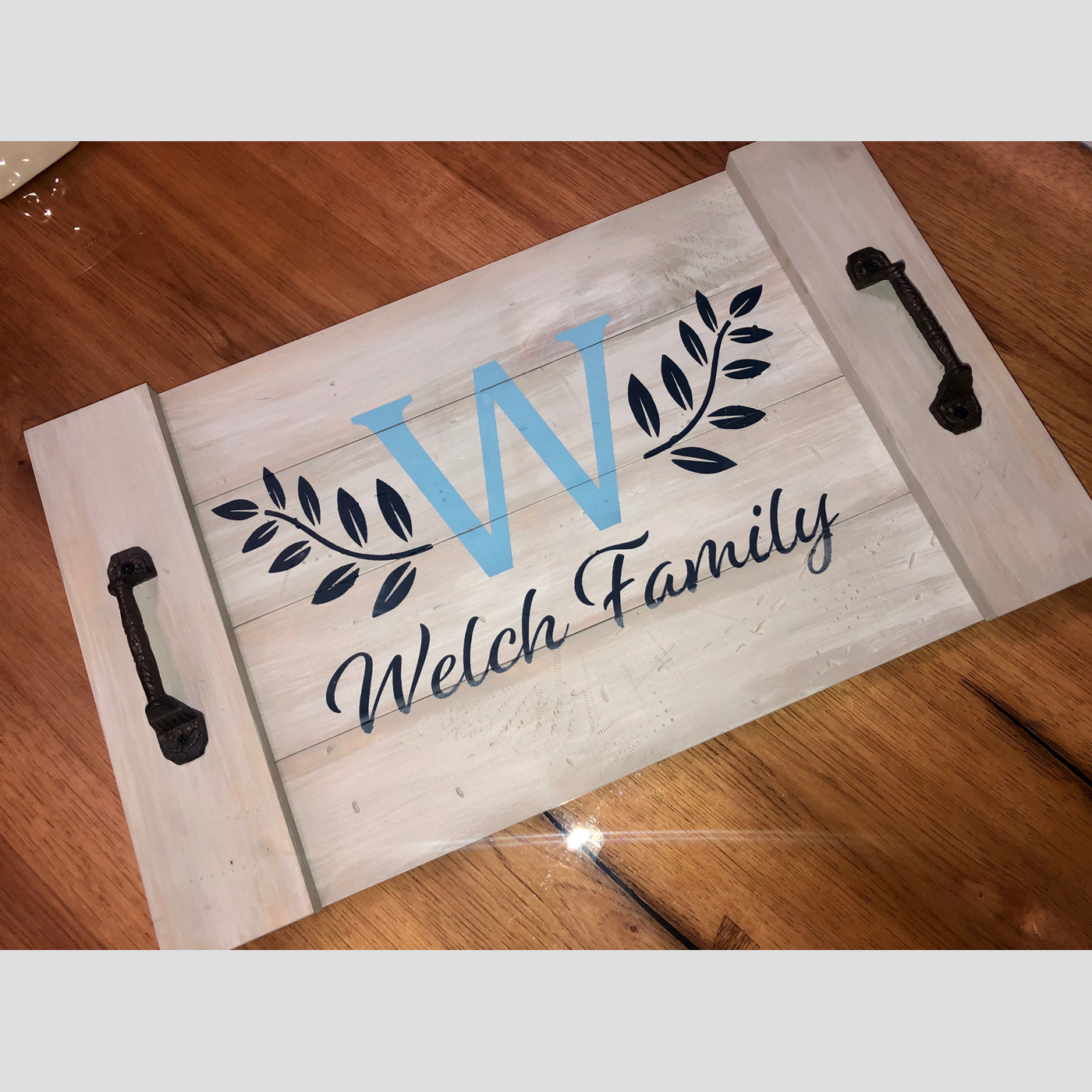 Tray - Family Name with Wheat Branches DIY wood sign project