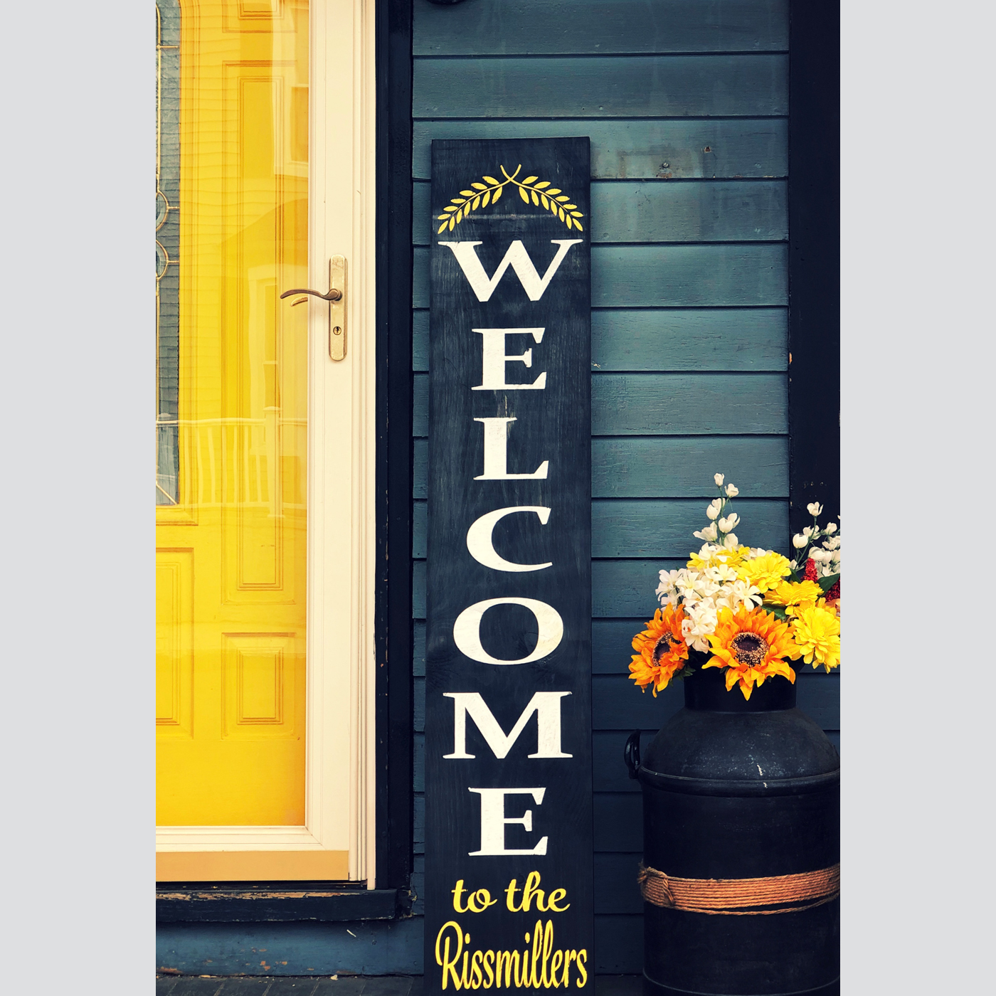 Welcome Sign - Welcome with Branches and Personalization DIY wood sign porch