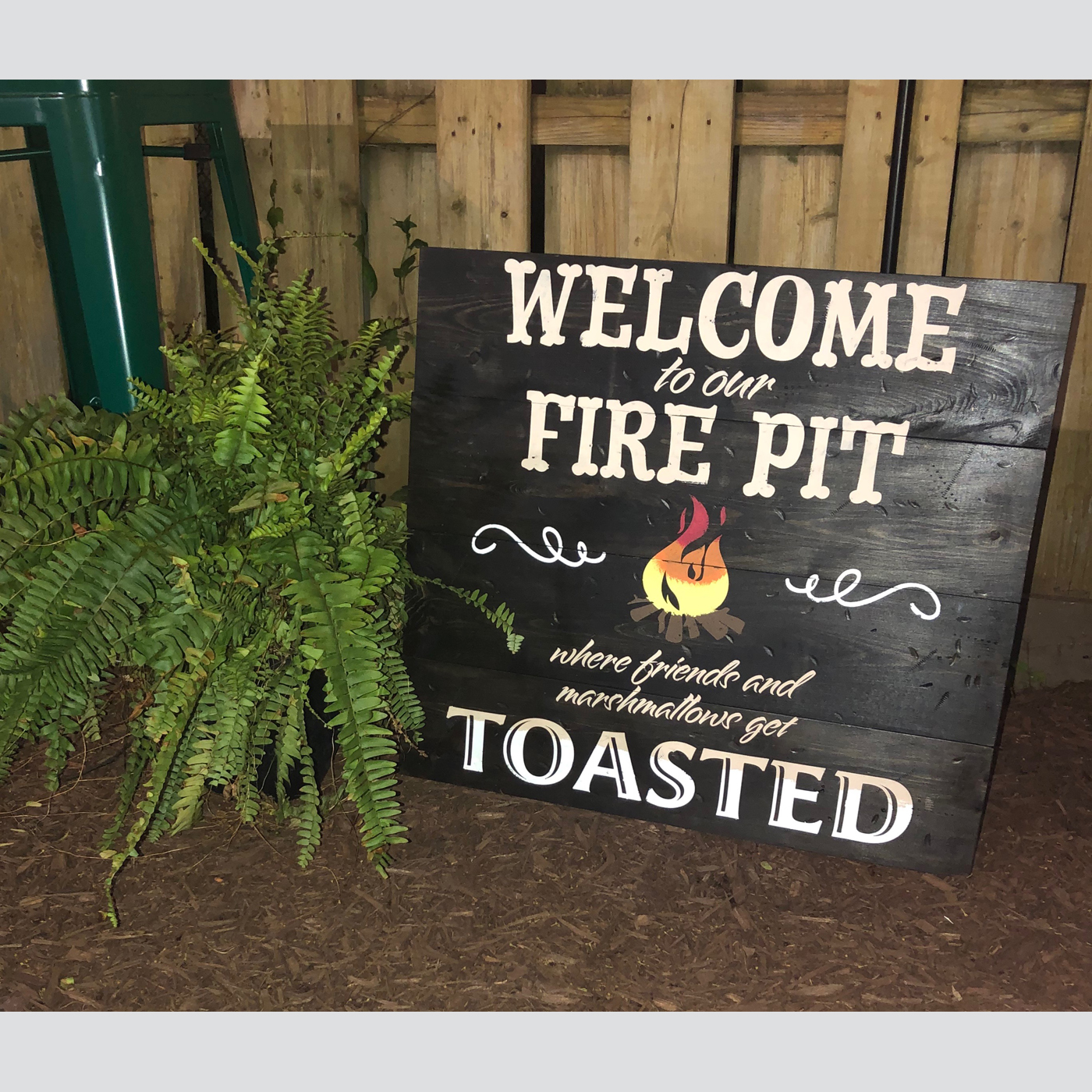 Welcome to Our Fire Pit DIY wood sign project outdoor
